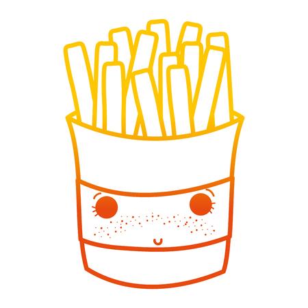 degraded line shy fries french fastfood vector illustration Illustration