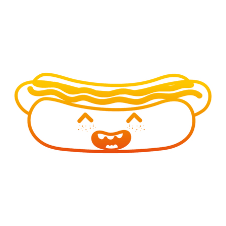 degraded line happy hot dog with sauces vector illustration