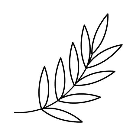 line exotic tree with tropical leaves branch vector illustration Ilustração