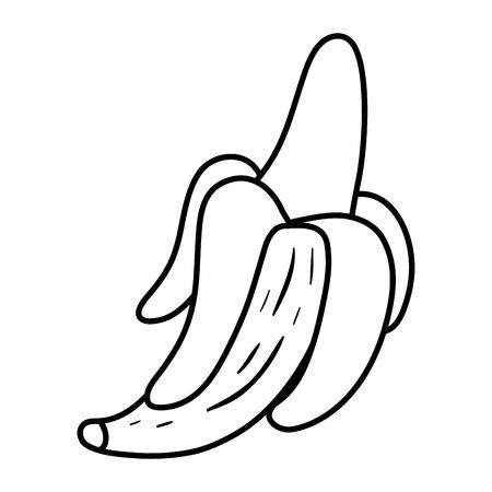 line yummy banana fruit organic vitamin vector illustration