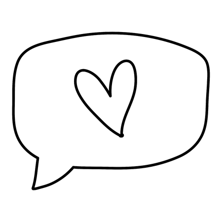 line heart inside chat bubble text message vector illustration