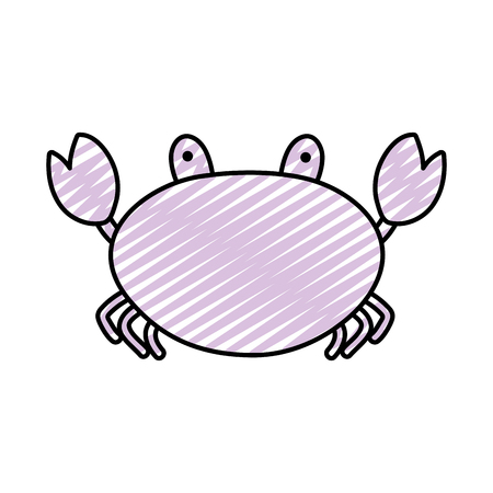 doodle nature crab tropical animal of sea vector illustration Çizim