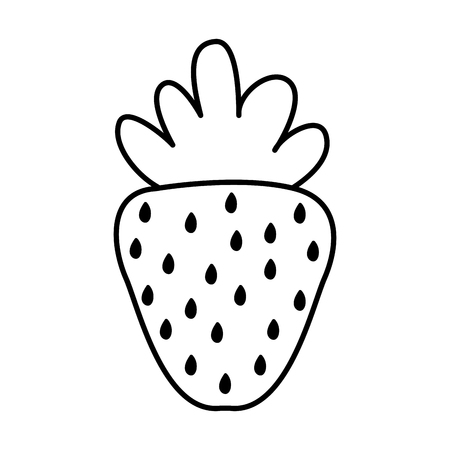 line delicious strawberry healthy organic fruit vector illustration