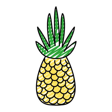 doodle delicious tropical pineapple organic fruit vector illustration Vettoriali