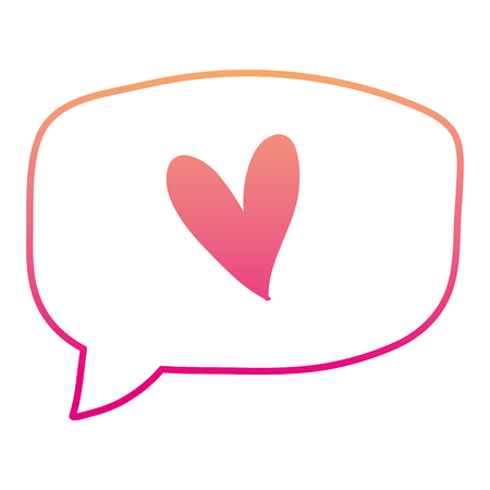 degraded line heart inside chat bubble text message vector illustration Illustration