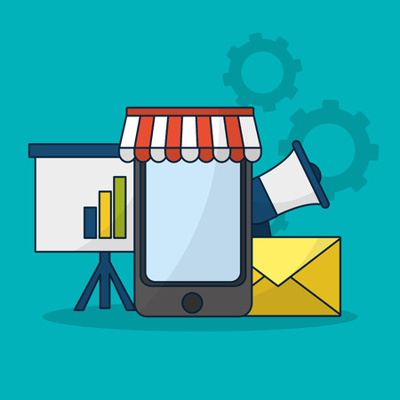 Online shopping and sales from smartphone vector illustration graphic design