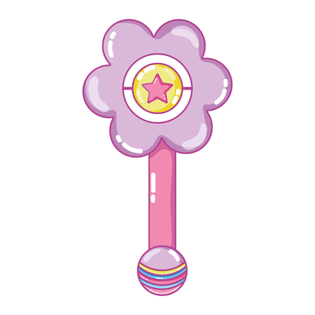 Flower rattle baby toy play. Illustration
