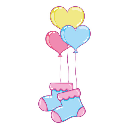 Baby sock clothes with heart balloons.