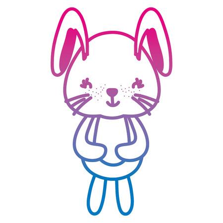 degraded line cute female rabbit teddy toy Illustration
