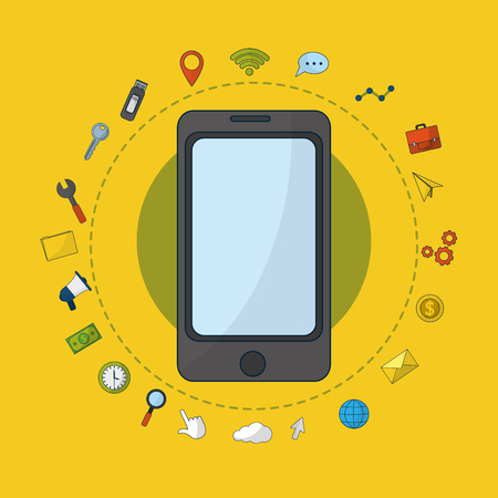 Digital marketing business symbols vector illustration graphic design