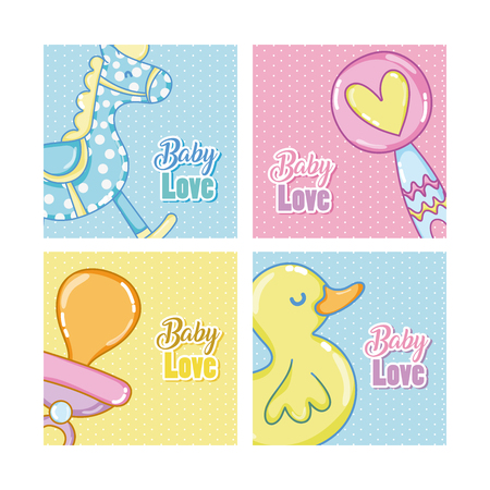Set of Baby love cartoons cards vector illustration design