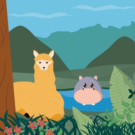 Hippos and llama cute animals cartoons