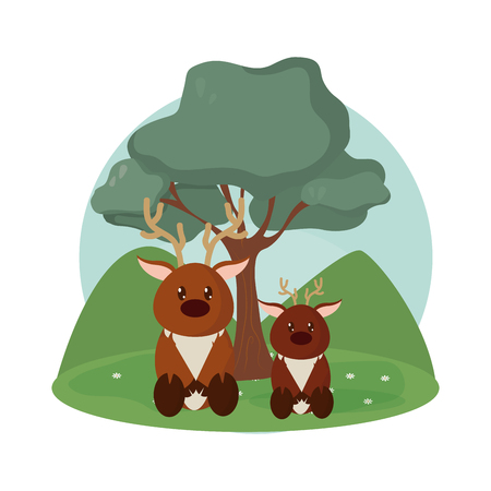 Deer   family cute animals cartoons Vector illustration.