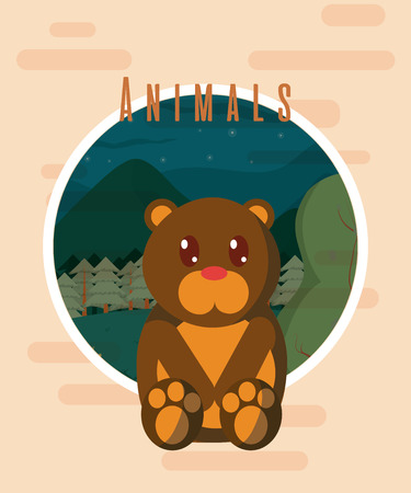 Bear cute animal card Vector illustration. Illustration