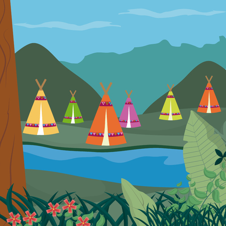 Tents in forest Vector illustration.