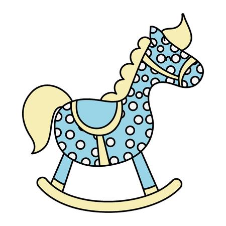color wooden rocking pony horse toy Stock Illustratie