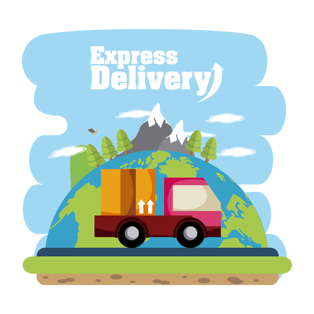 Express delivery truck cartoons vector illustration graphic design