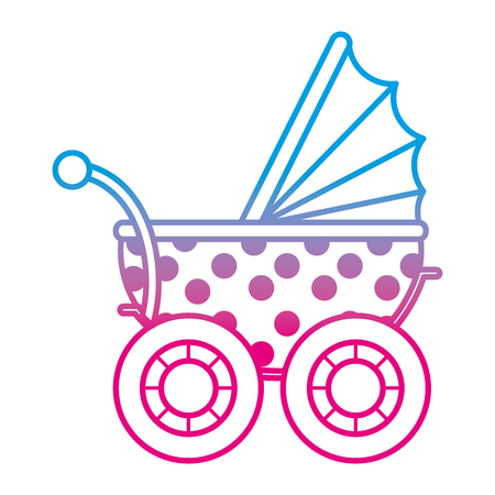 degraded line baby stroller relax transportation object vector illustration Illustration