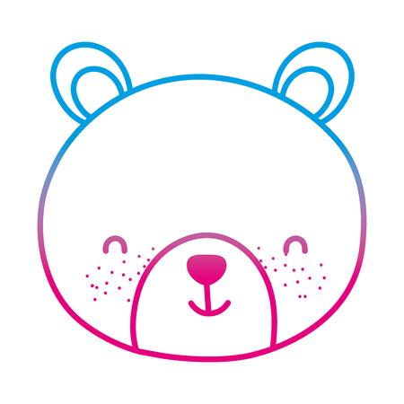 degraded line cute bear teddy head toy