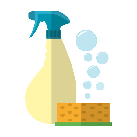 Scouring pad with detergent and splash bottle Stock fotó - 99196166