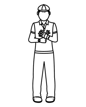Line boy golfer with sport uniform and glove