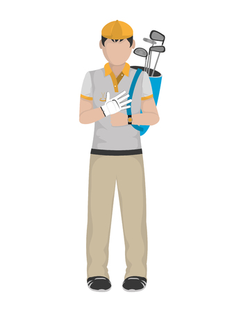 Golfer with bag and glove icon