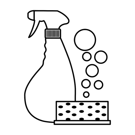 Scouring pad with detergent and splash bottle icon