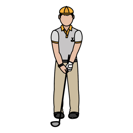Color boy golfer with hat and golf bat