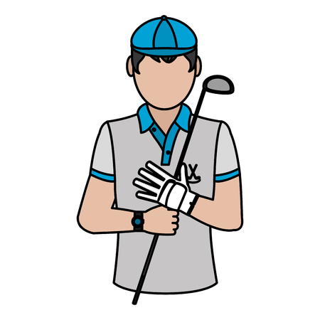 Color man golfer with bat and sport uniform