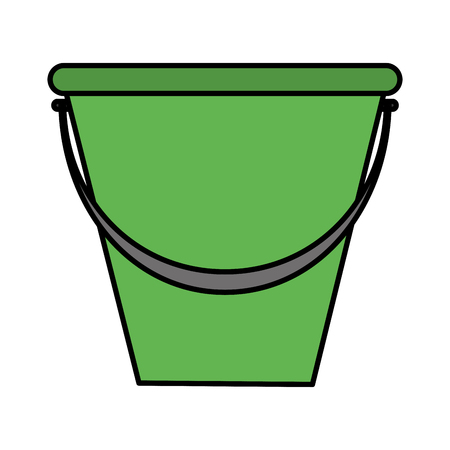 Color plastic pail object to clean house Illustration