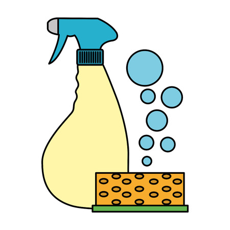 Color scouring pad with detergent and splash bottle vector illustration Ilustração