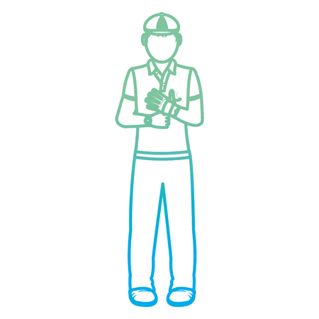 degraded line boy golfer with sport uniform and glove vector illustration Vettoriali
