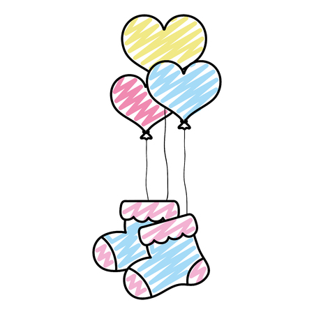 doodle baby sock clothes with heart balloons vector illustration
