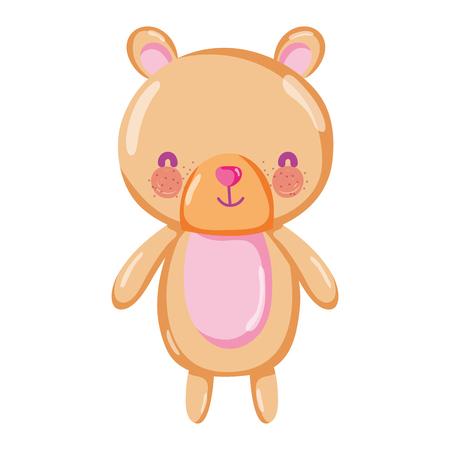 cute bear teddy animal toy vector illustration