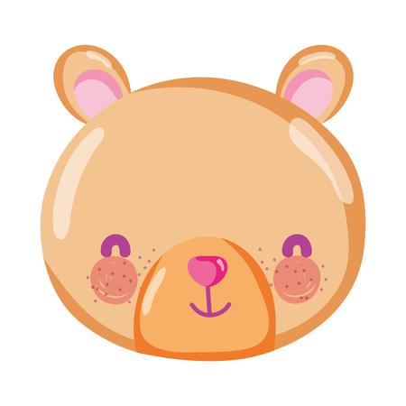 cute bear teddy head toy vector illustration