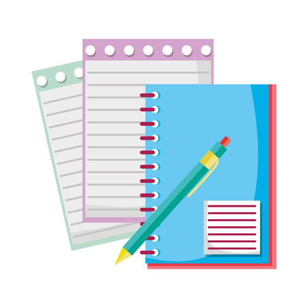 notebook and note paper with pen tools vector illustration