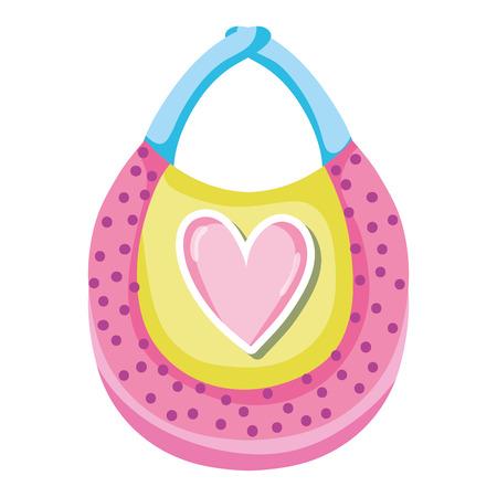 baby child bib with heart design vector illustration Illustration
