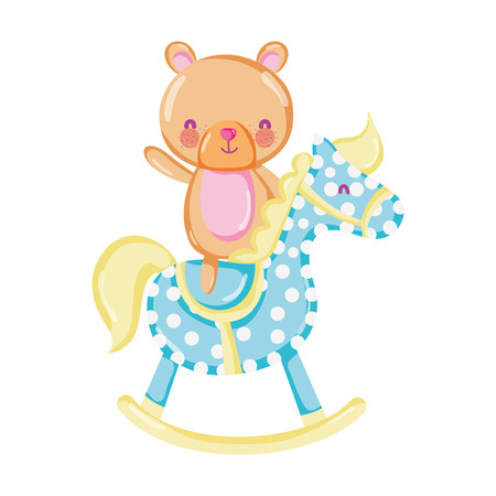 bear teddy ride rocking horse vector illustration