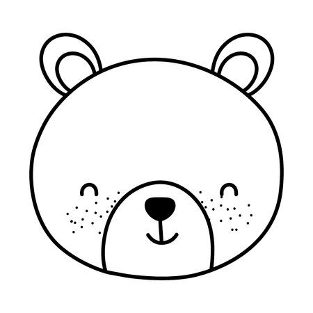 lijn schattige beer teddy hoofd speelgoed