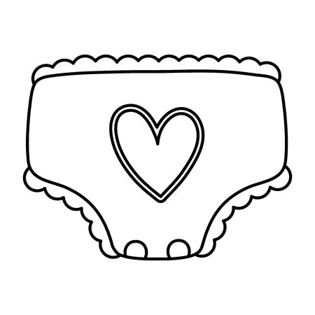 line cute comfortable baby diaper to hygiene Illustration