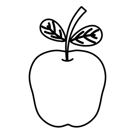 line delicious apple healthy fruit with vitamin vector illustration Illustration