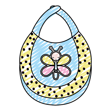 doodle nice baby bib with butterfly design vector illustration