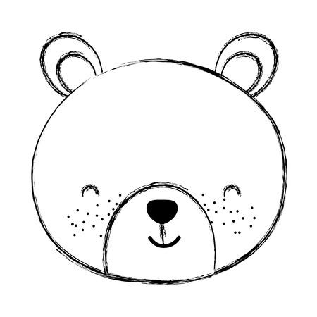 grunge cute bear teddy head toy vector illustration
