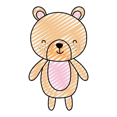 doodle cute bear teddy animal toy vector illustration