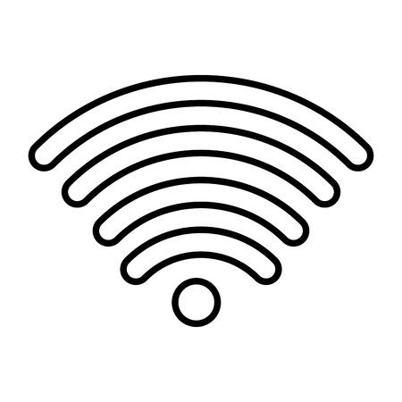 line digital wifi mobil connection signal vector illustration