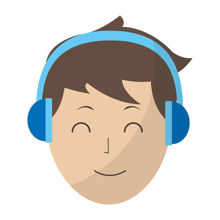 happy avatar man with hairstyle and headphones vector illustration Illustration