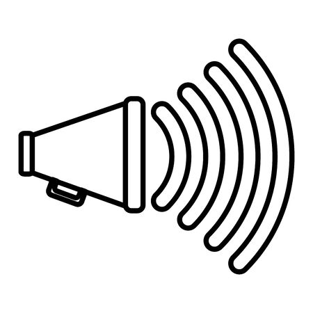 line megaphone object to public alert message vector illustration