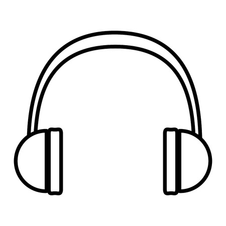 line modern headphones technology to listen music vector illustration