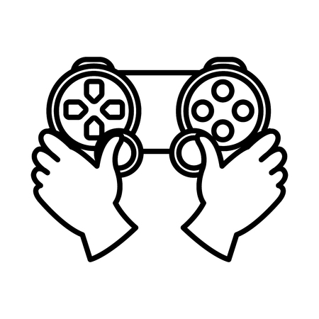 line hands with videogame controller play console Illustration