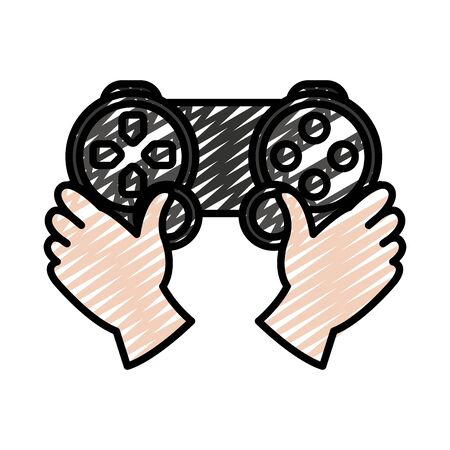 doodle hands with videogame controller play console